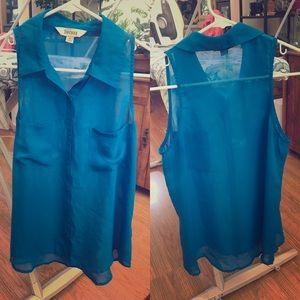 Blue sheer collared sleeveless blouse